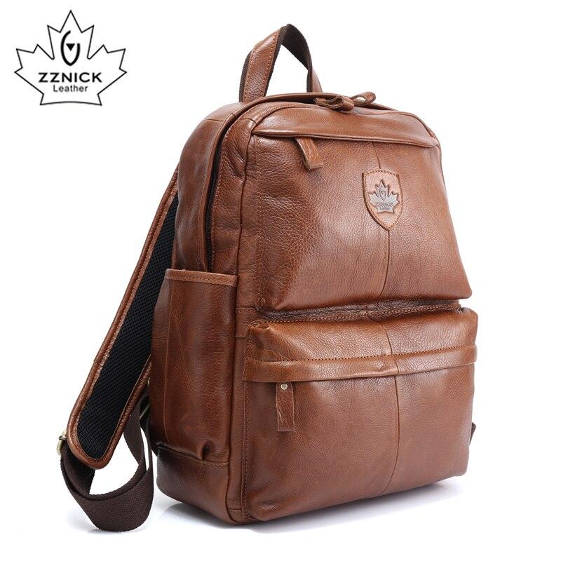 ZZNICK, высокое качество, Воловья кожа, первый слой, ранец, мужская сумка для компьютера, школьные сумки, винтажный рюкзак из натуральной кожи, м... - 2
