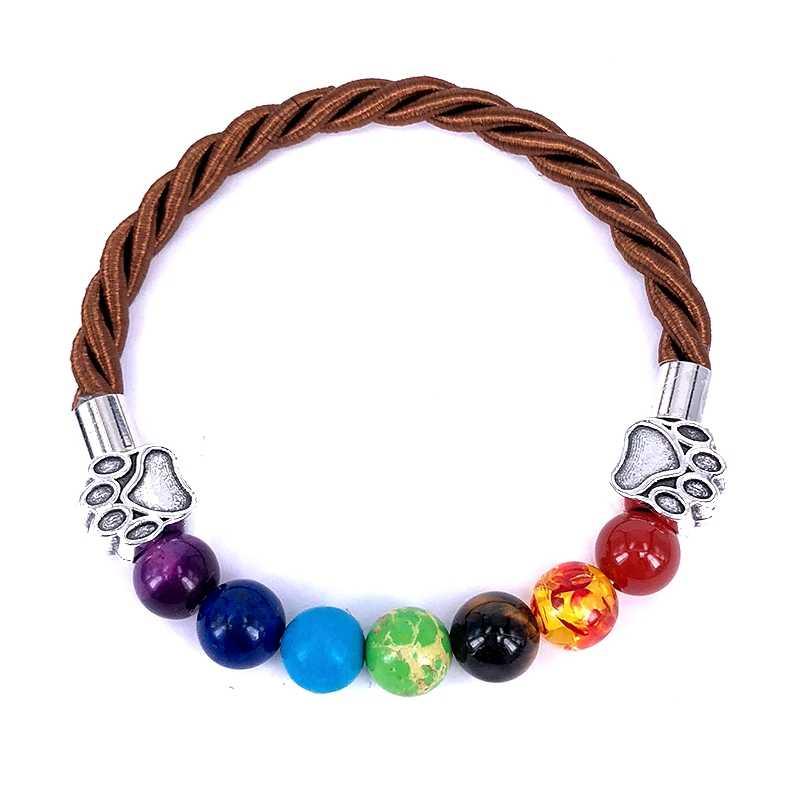 2018 Новый Hand Made канат браслет 7 Чакра Для мужчин Для женщин браслет собака Paw Шарм браслет для любителей животных подарок ювелирных изделий a18091