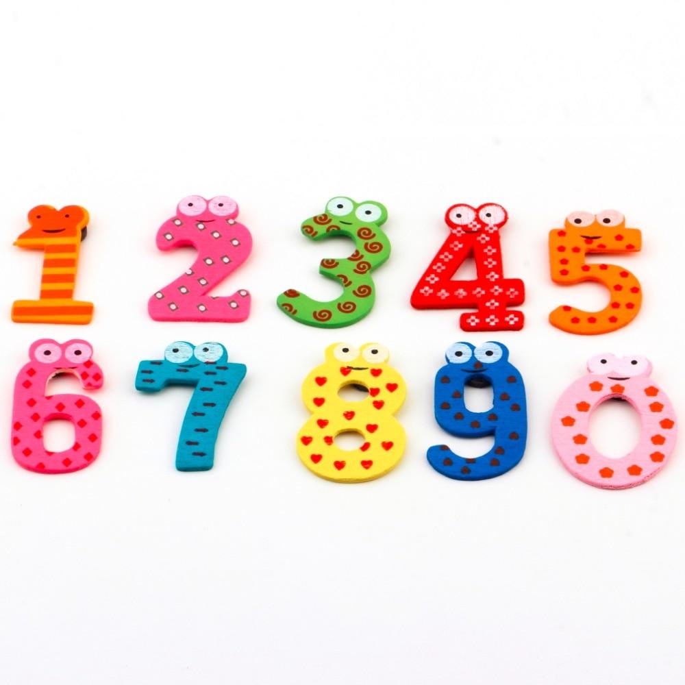 10 Aantal Houten Magneet Stickers Set Voor Onderwijs Leer Leuke Kind Baby Toy Kerstcadeau Nummer Decor Muursticker Brede VariëTeiten