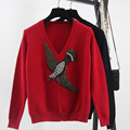 Women Luxury Autumn Winter New Sweaters V-neck Embroidery Beading Flying Bird Pattern Knitted Tops Brand Thick Pullovers SY723