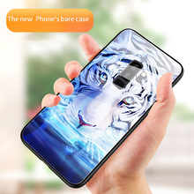 Luxury Tiger Rhino Animal Tempered Glass Phone Case For Samsung Galaxy S8 S9 S10 e Plus Note 8 9 Stained Cover Funda Coque