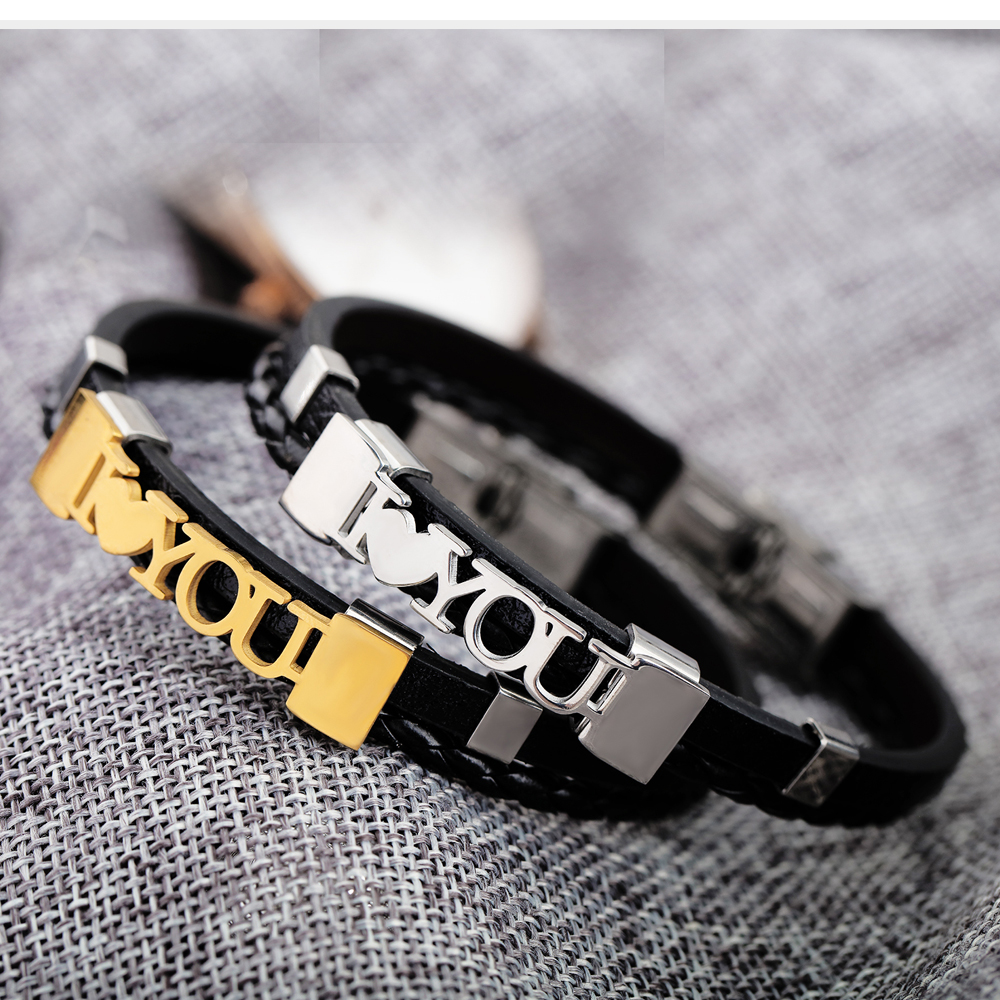 2018 New Men weave with leather I love you  charm bracelets fashion cuteRomantic lover bracelet for boyfriend gifts jewelry