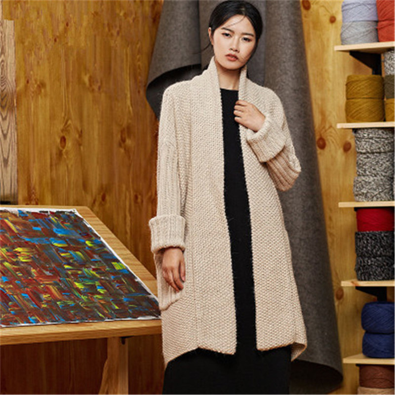 100% Hand Made Wool Stand Collar Thick Knit Women Streetwear Loose Solid H-straight Long Cardigan Sweater One&over Size