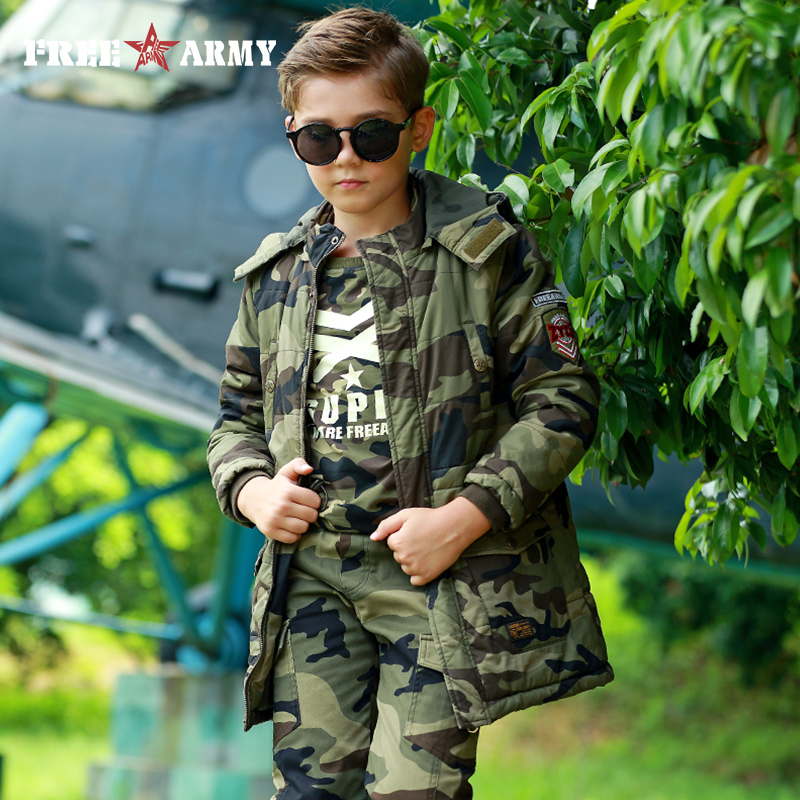 Kids Boys Winter Jacket 2017 Military Army Fashion Camouflage Jackets And Coats Hooded Outerwear & Coats Children's Down Parkas mens long winter camouflage jacket fur hooded down 2017 outwear thick military style parkas male big coats army green camo 3xl