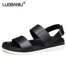 LUOBANIU Brand 2017 Size 38-43 Black Color Cool Beach Sandals Summer Top quality Breathable Light Weight Buckle Men Shoes 7786