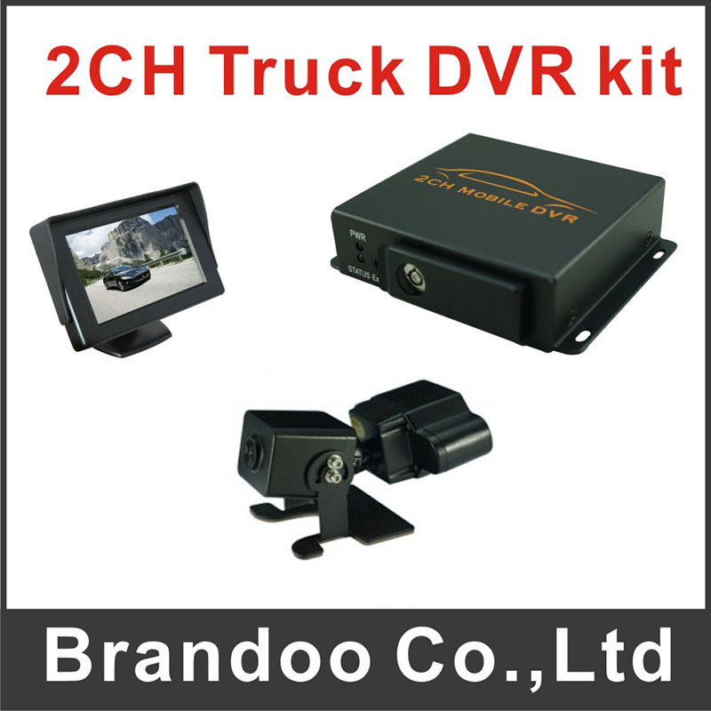1pcs dual lens car camera+1pcs 4.3inch monitor for 2CH CAR DVR kit