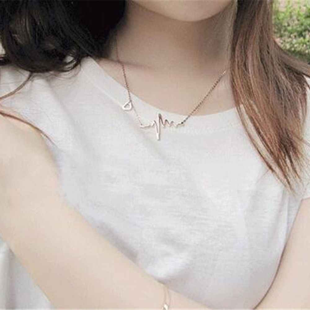 Womens Electrocardiogram Pendant Heartbeat Heart Rhythm EKG Simple Necklace