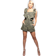 2019 summer new womens denim jumpsuit fashion sexy backless straps lotus lace camouflage