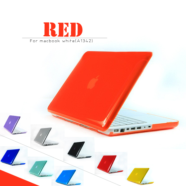 New Rubberized Frosted Crystal Clear Case Sleeve For Macbook white MC516 MC207 A1342 Free Keyboard Cover