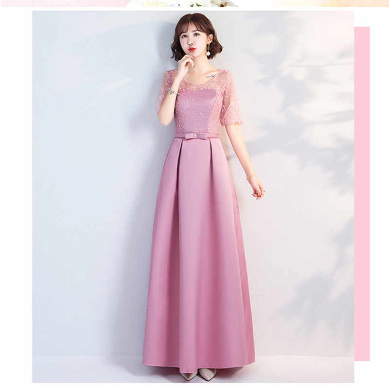 fc92194fdb YWXN5559Y#Pale Mauve Long, medium and short O-Neck Lace up Bridesmaid  Dresses 2019 new wedding party dress prom gown wholesale