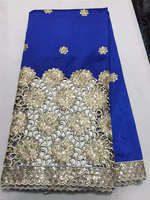 Newest Special Design Gold Sequin George Lace Fabric Embroidered High Quality Silk African George lace