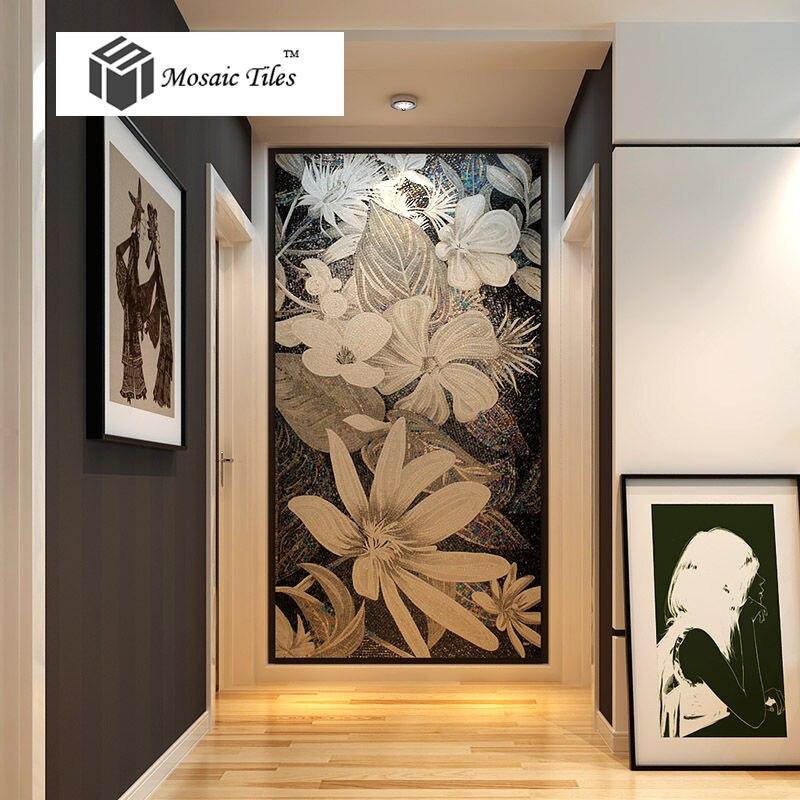 Стеклянная мозаичная роспись для декора стен мозаичная стеклянная Цветочная художественная плитка