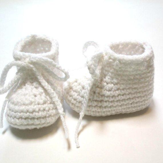 Tienda Online Blanco zapato de bebé. botines del ganchillo del bebé ...