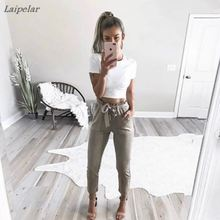 2018 fashion women mid waist shirley pants suede taupe Casual female trousers autumn winter Leather bottoms trouser