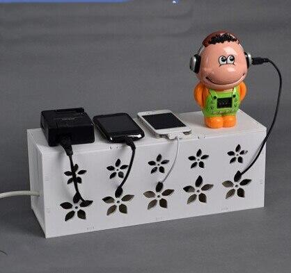 간단한 조립 중공 와이어 보관 상자 흰색 전원 소켓 보관 상자 크리 에이 티브 데이터 라인 마무리 상자
