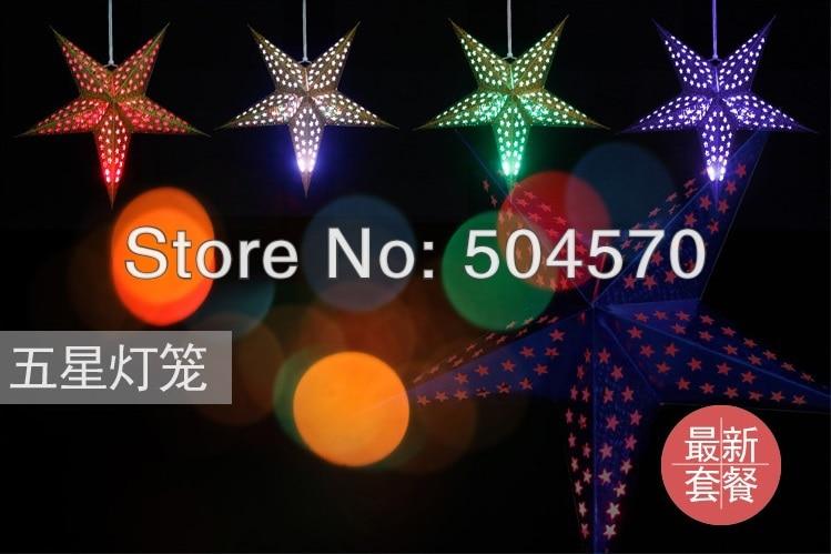 4pcs / Lot 30-60cm LED Star Handle Lanterns Lamp Laser Paper Glow - Varer til ferie og fester - Foto 5