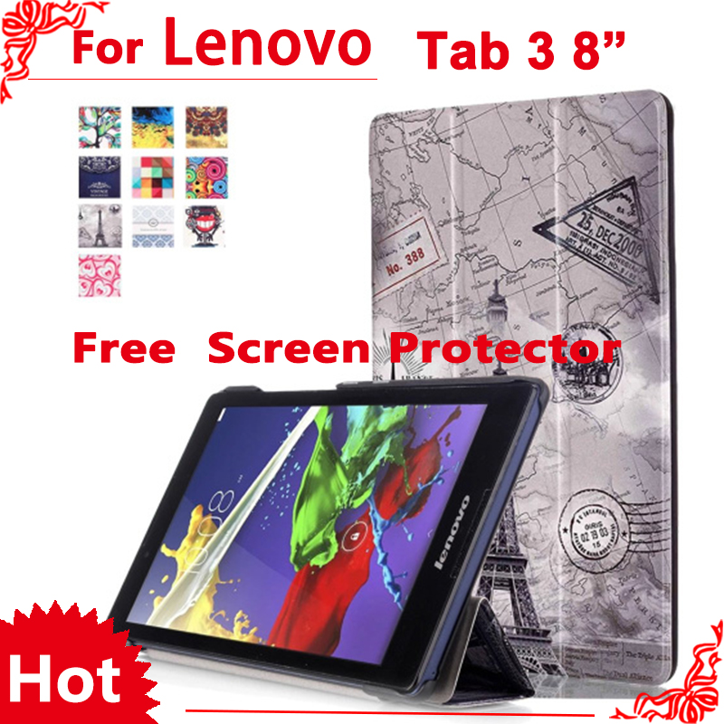 Cover Case For Lenovo Tab 2 A8-50 A8-50F A8-50LC 8 Case for Lenovo Tab 3 TAB3 8.0 850 850F 850M +  free 2 pcs Screen Protector 2017 new for lenovo tab2 a8 pu leather stand protective skin case for lenovo 8 inch tab 2 a8 50 a8 50f tablets cover film pen