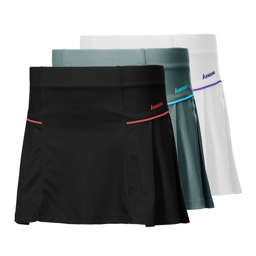 100% Polyester Kawasaki Brand Tennis Netball Skirt for Girls Knitted Badminton Skorts with Safety Pants Sports Cloths SK-172707