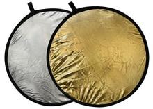 """Atacado FOTGA 110 cm 43 """" 2 em 1 refletor dobrável disco prata ouro"""