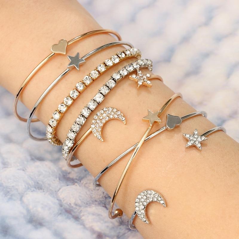 3 Pcs/ Set Classic Star Heart Moon Bracelets Fashion Crystal Multilayer Adjustable Open Bangles&Bracelet Women Party Jewelry
