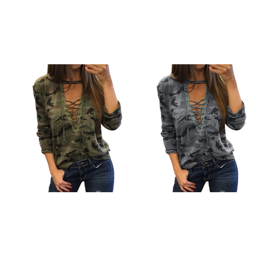 c182174d925a61 ZYFPGS 2018 Autumn Top Women s Long Sleeve t shirt Camouflage Sexy Female T  shirt Lace Personality Tee Harajuku T shirt Z0812-in T-Shirts from Women s  ...