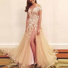 Charming Prom Dresses Tulle Masquerade Dress abendkleider Long Sexy Evening Gowns Appliques Floral abiye robe de soiree