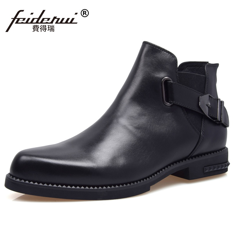 Luxury Brand Man Round Toe Chelsea Riding Ankle Boots Fashion Genuine Leather Designer Platform Men's Cowboy Martin Shoes XE88 new arrival man luxury brand cowboy western shoes male designer genuine leather round toe men s cowboy martin ankle boots ke62 page 3