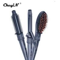 3 in 1 Ceramic Curling Wand Set Hair Curler Tong Hair Curling Iron Roller Volume Comb Hair Straightener Brush Hair Styling Tool