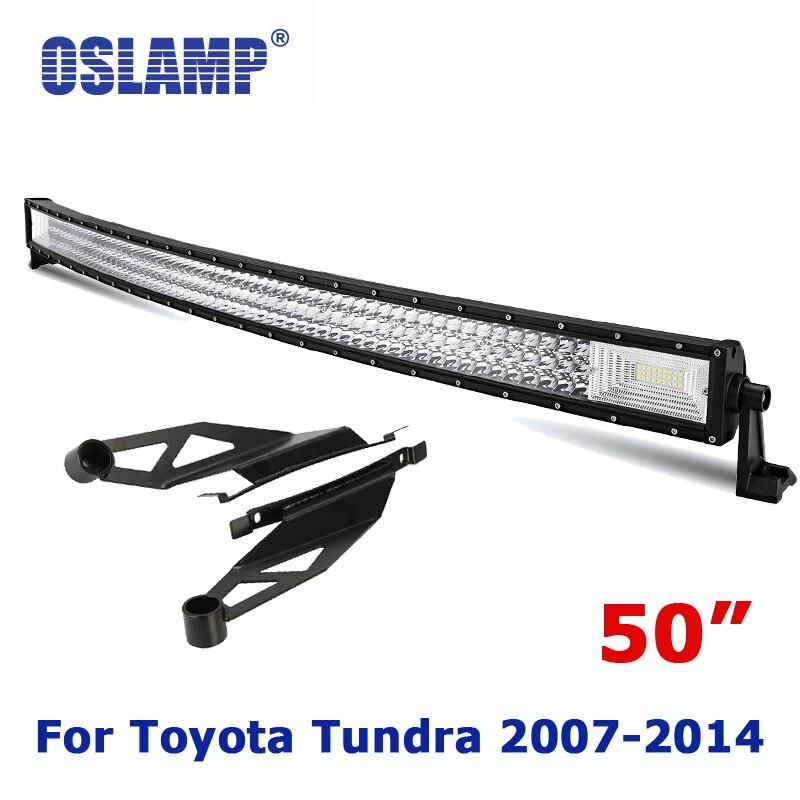 Oslamp для Toyota Tundra переоборудование 50 изогнутый вождения свет Наборы для бара Offroad Вождение работы привело бар с монтажа крыши кронштейн