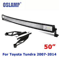 Oslamp For Toyota Tundra Refitment 50 Curved Driving LED Light Bar Sets OffRoad Driving Work LED Bar with Roof Mounting Bracket