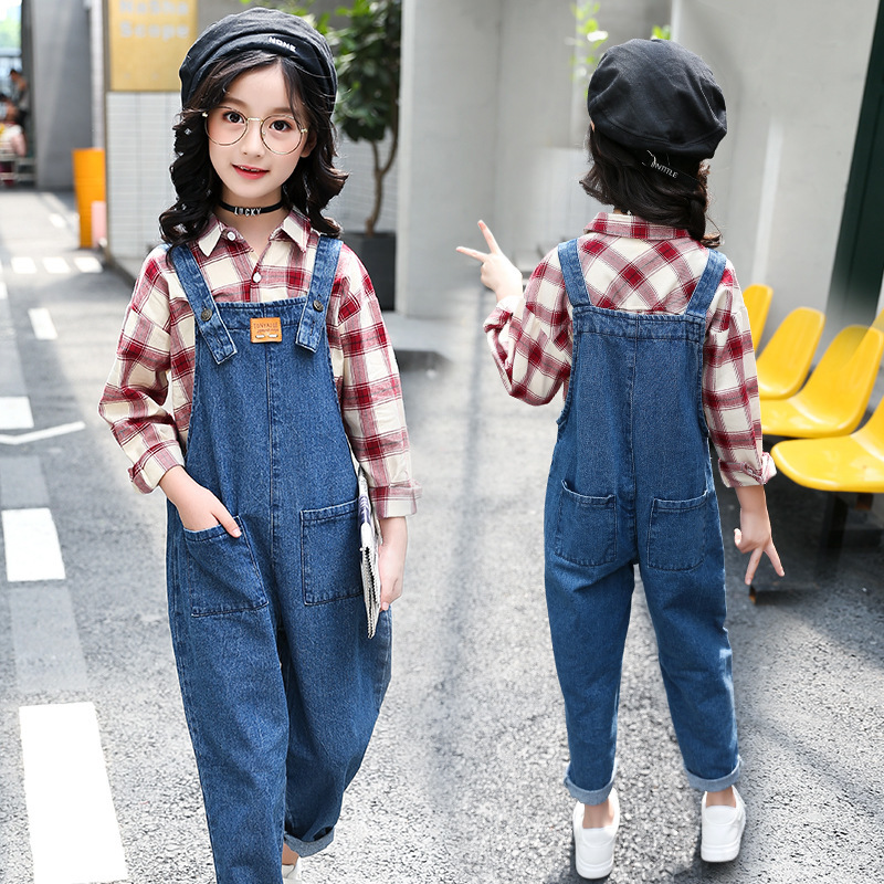 Fashion Teenage Girl Autumn Clothing Baby Cowboy Salopettes Haren Jeans Child Girls Overalls Outfits Kids Denim Jumpsuit girl