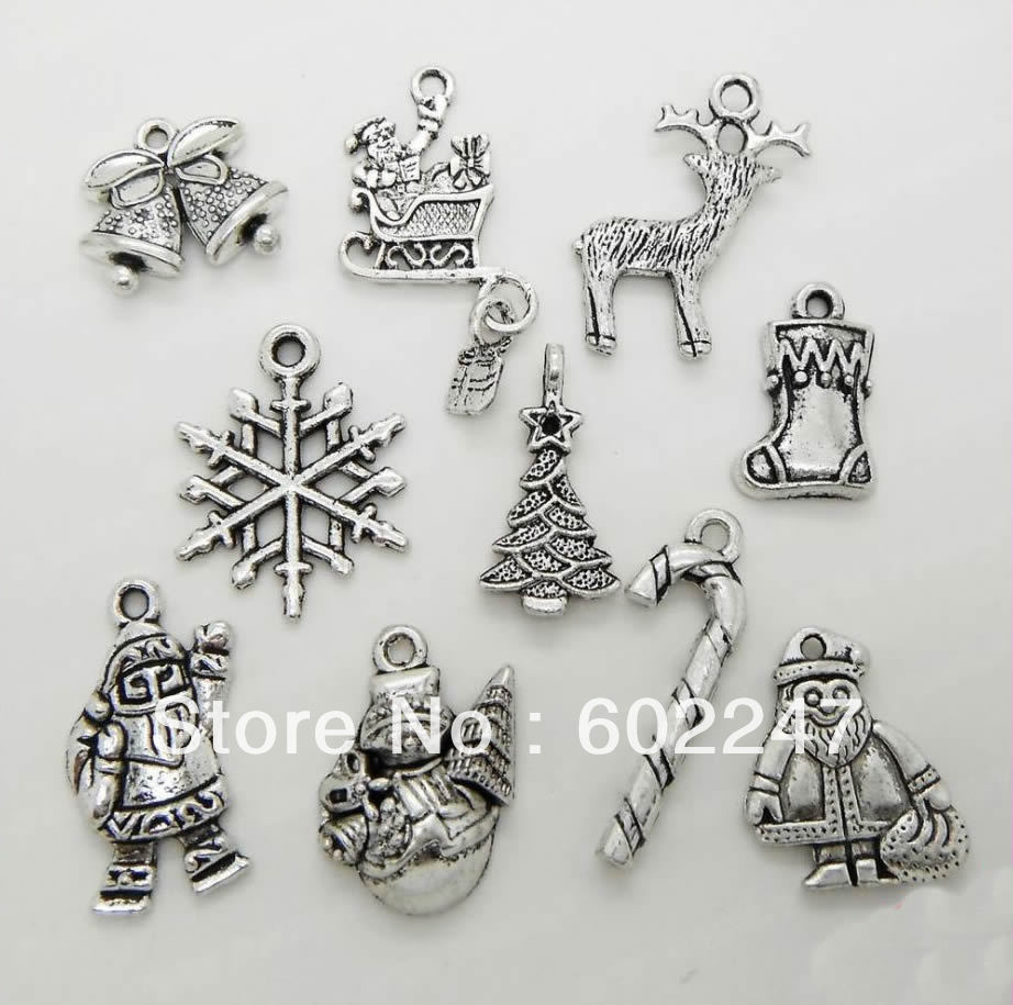 50pcs Christmas Charm Pendant for Necklace Jewelry Making Finding Tibetan Silver