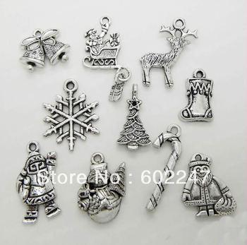 Tibetan Silver XMAS Christmas Theme Charm Pendant Finding Bead Jewellery Making, Mixed Tibetan Silver Charms Wholesales