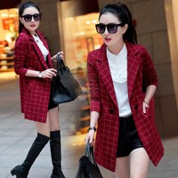 New Autumn Women Long Plaid Blazers Fashion Double Breasted Plus Size Blazer Ladies Casual Long Sleeve Work Coat