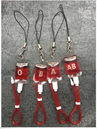 New lOT 50 pcs Popular PVC Blood Pack Key Chains Keys Camera ID Card Lanyard Gift