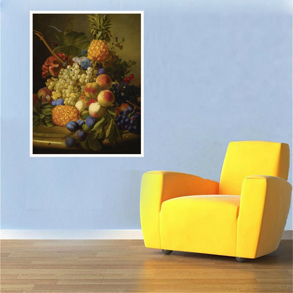 Pineapple Grape Peach Fruits Still Life Oil Painting Print Canvas Beautiful Artwork for Kitchen Decor Wall Art Fashion Gift Ship