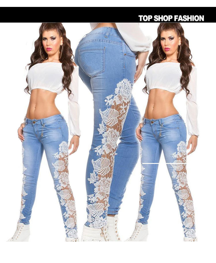 Flank lace Jeans women light Blue high waist jeans skinny pencil black white side denim sexy hot Pants