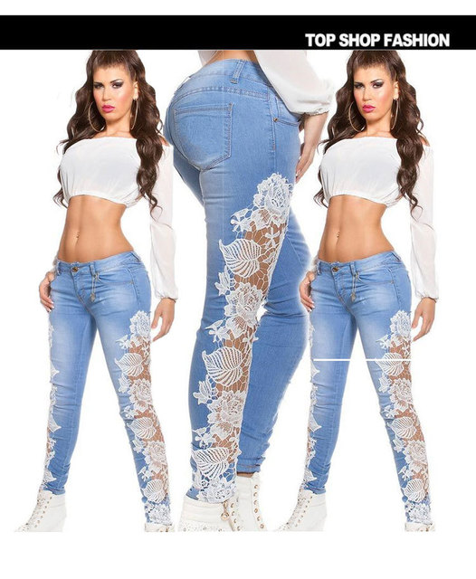 Flank lace Jeans women light Blue high waist jeans women skinny pencil Jeans black white lace side denim sexy women hot Pants
