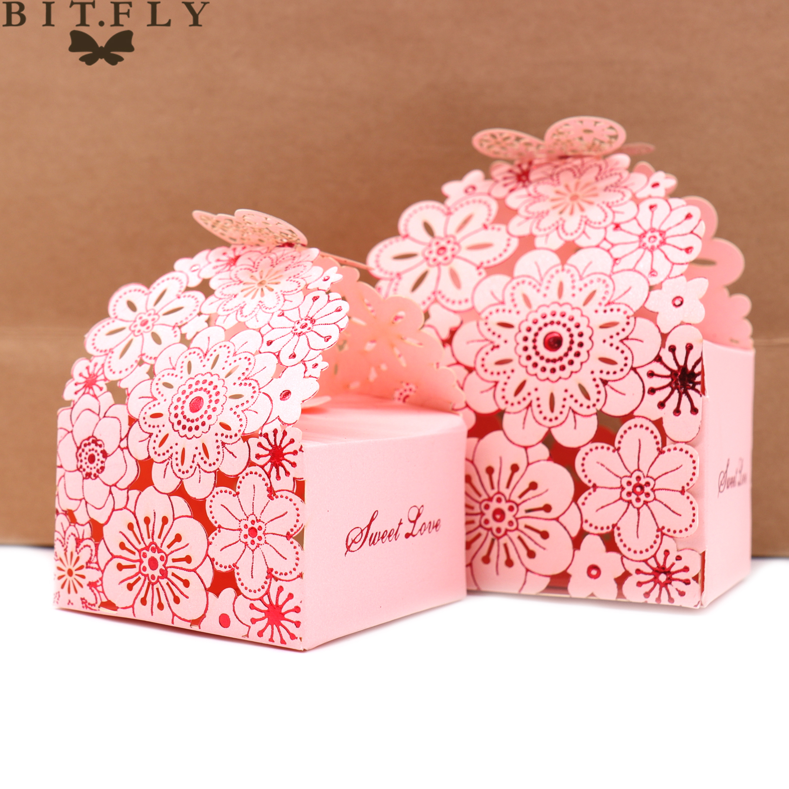 50 pcs Laser cut paper candy box romantic wedding butterfly ...