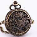 Classic Vintage Retro Delicate Antique Skeleton Hollow Butterfly Pocket Watch Chain Clock Necklace Girls Women's Gift Box TD002