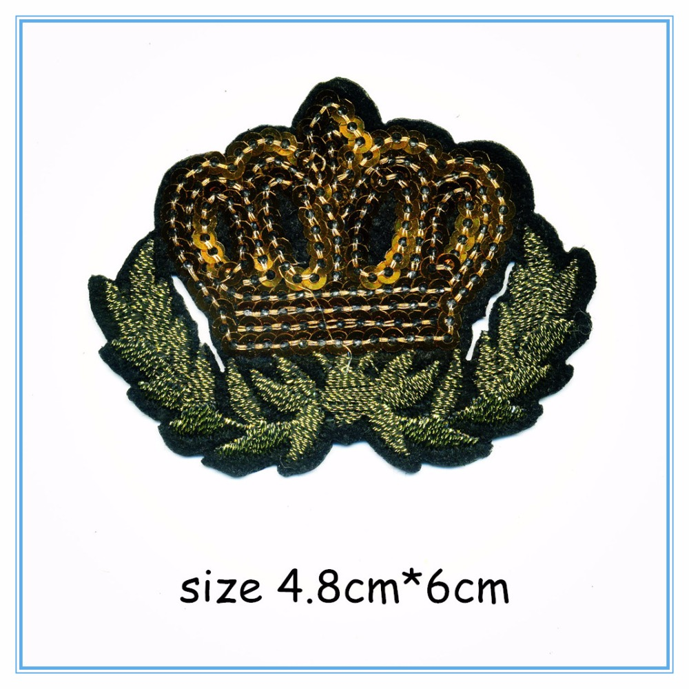 DOUBLEHEE 011 Crown Sequins College Embroidery Patches Iron On Or Sew Fabric Sticker For Clothes Embroidered Appliques DIY