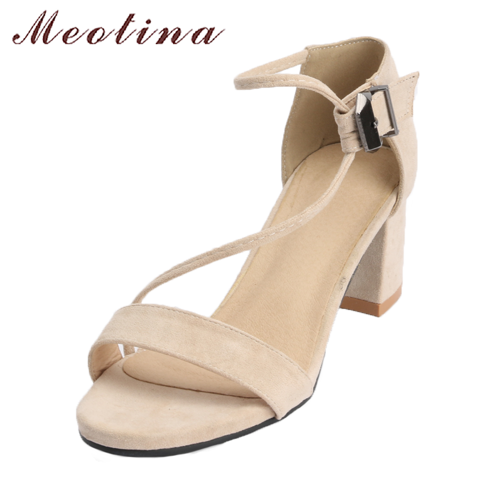 Meotina 2018 Summer Sandals Women Block High Heels Shoes Ankle Strap Casual Shoes  Large Size 42 43 Beige Black Sandals Female 47dceb8f0881