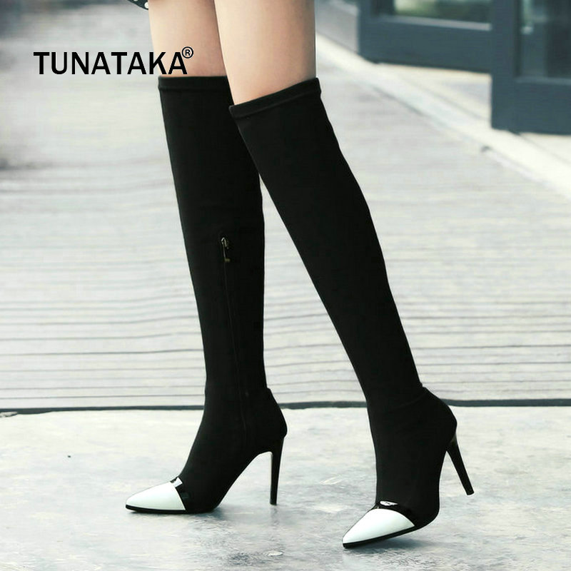Genuine Leather Thin High Heel Zipper Woman Over The Knee Boots Pointed Toe Woman Stretch Boots Fashion Laides Thigh Boots Black