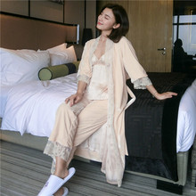 Autumn Winter Luxurious Qualities Woman Pajamas Gold Velvet Thickening Three-Piece Sleeping Robe Bathrobes Female LMR06