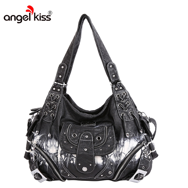 Angelkiss Women Shoulder Hobos Bags Pu Washed Handbags Messenger Capacity Ping Top Handle Leopard Print