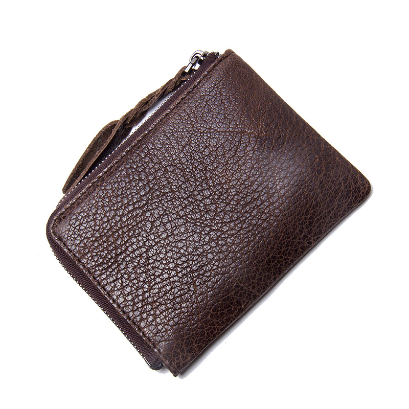 CONTACT'S Coin Purse Genuine Leather Men Women Casual Solid Wallets Zipper Square Small Walet With More Card 1