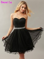 Sexy Black A Line Tulle Juniors Short Cocktail Dresses Sweetheart Beaded Crystals Belt Juniors Elegant Cocktail