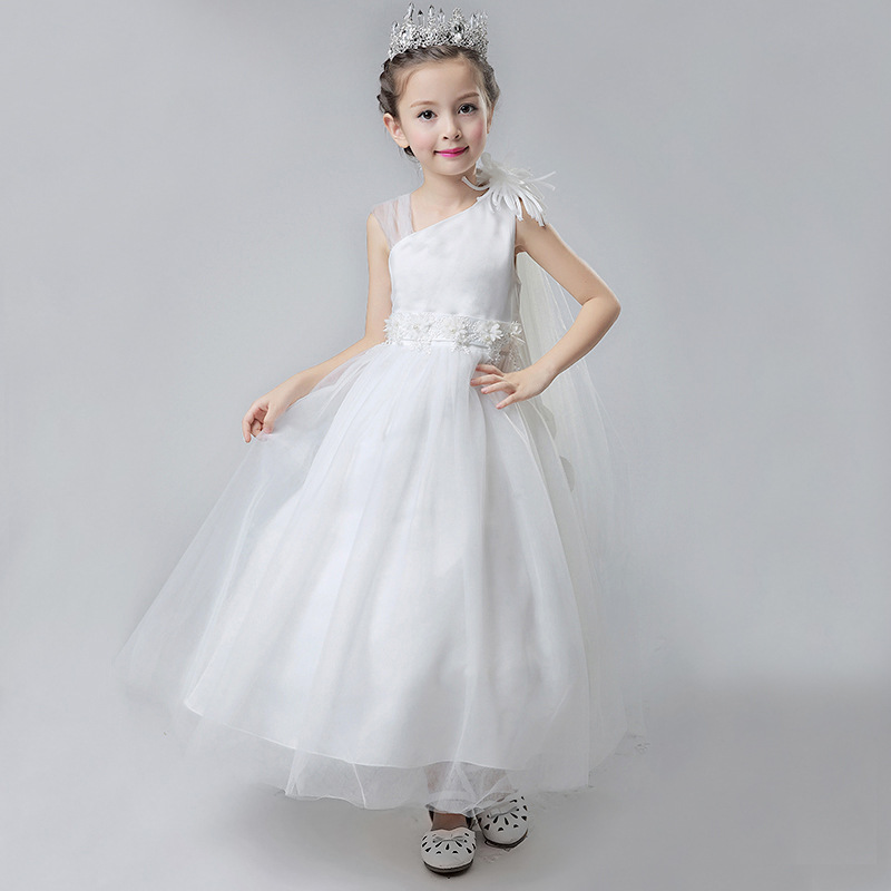 2018 New Summer  Long White Wedding Flower Girls Party Dresses Kids Baby Elegant Fancy Formal Gown Prom Dress Children Clothes new year formal gown princess summer 2017 new party dress girl children clothing prom wedding kids clothes girls tutu dresses