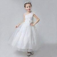 Elegant Floor length White Tulle Sweet Flower Girls Party Dresses Kids Baby Floral 3D Fancy Birthday Holy Dress Children Costume