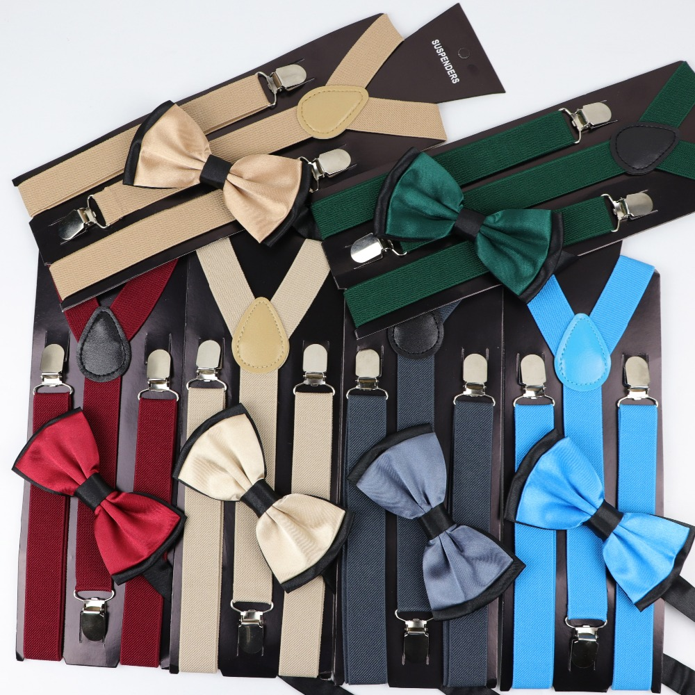 Solid Color Man's Belt Bowtie Set Men Women Suspenders Polyester Y-Back Braces Two Colors Bow Tie Adjustable Elastic(China)